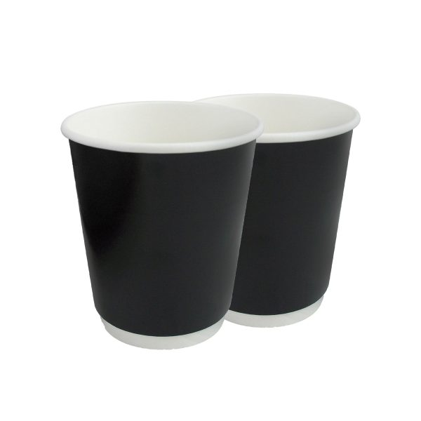 Double Wall Cup Generic Black Unwrapped 10oz