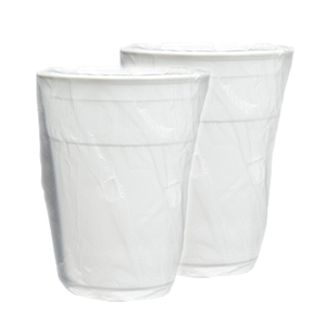 White Plastic PP Cups Individually Wrapped 9oz