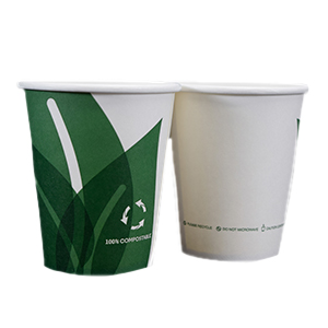 Single Wall Hot Paper Cup Eco Friendly Unwrapped 8oz