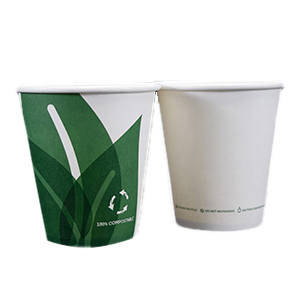 Single Wall Hot Paper Cup Eco Friendly Unwrapped 10oz